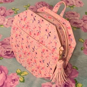 🐣 Pink Spring Floral Octagon Round Backpack Purse